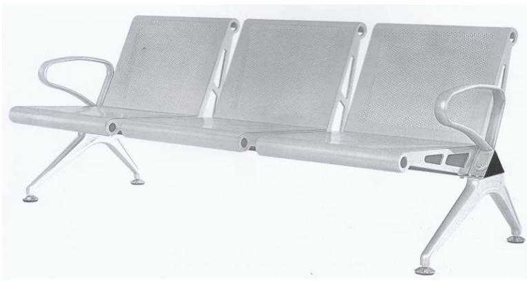 Ghế 3 chỗ nhũ bạc HP3-3S1